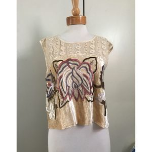 Free People Velvet Short Sleeve Top Small NWOT
